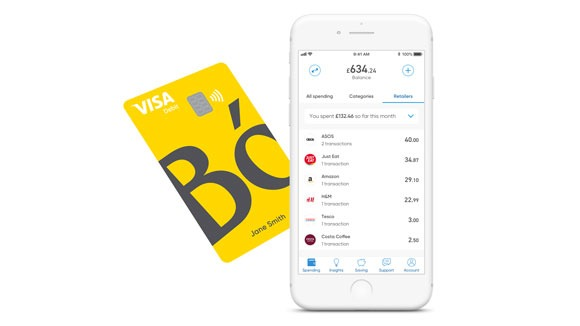 Bó digital bank features a bright yellow Visa card and a mobile app